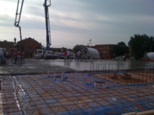 Pumping the floor for Elk City's new City Hall building.