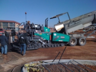 Paving a new parking lot at Great Plains Regional Medical Center.